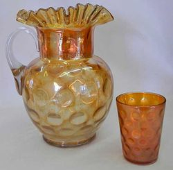 Inverted Coin Dot pitcher and tumbler, marigold