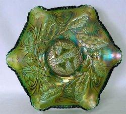 Millersburg Holly ruffled bowl, green