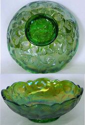 Inverted Strawberry bowl, Cambridge Glass USA, green