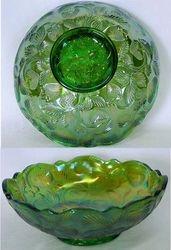 Inverted Strawberry bowl, Cambridge Glass USA, green