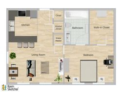 Floor Plan F, 753 Square Feet, 1 bedroom/1 bath