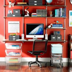 Use shelving for storage and display