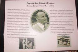 Sign at Goorambat Silo Art