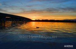 Chautauqua Lake bridge - early sunset