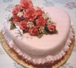 Peach Rose Engagement Cake