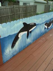 Outdoor wood fence painting