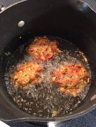 Frying 2nd side of Fritters