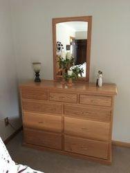 9 drawer dresser w/mirror-Red Oak