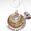 S&K  Bead 5 Layer custom personalized , hand stamped jewelry mommy necklace