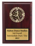 Sports Dance Plaque in Red Wood