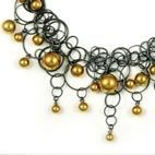Jewellery. Oxidised silver and hand blown glass necklace.