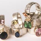 Jewellery. Handmade silver and gold rings with semi-precious stones