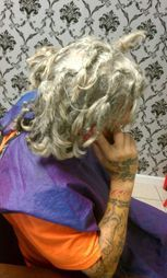 Natural dreadlocks gone wrong client went to upscale salon for over a year and this is the type of locs he had.  He came to Bee for repairs on his Locs.  Bee did the InstantLoc Dread Extensions technique.