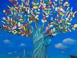 America is a land of immigrants. My tribute to immigration and the immigrant story.  It features the statue of liberty as a tree of life. We are all rooted together as one