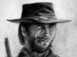 Charcoal drawing of Clint Eastwood as the outlaw Josey Wales