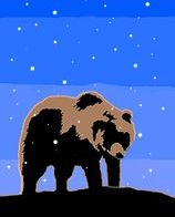 Grizzly Bear at Sunset  Graphic Design Art