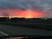 sunset over O'Hare airport, Chicago, Il