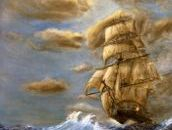 This Tall ship painting is my best interpretation of the classic ship on sea oil painting.