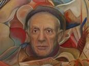 My tribute to Picasso.  This Picasso tribute was my first in my masters series, in which I paint of portrait of a master artist and then create artwork surrounding them that was inspired by their style
