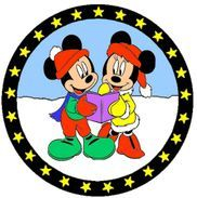 Mickey and Minnie caroling pathtag design