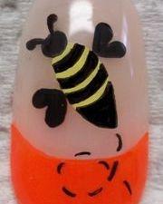 Neon Bee nail art