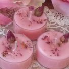 Tealight candles with flowers & herbs