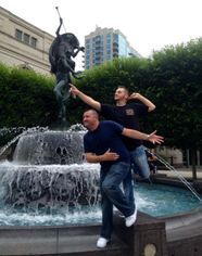 Michael and Angelo pose at Schermerhorn fountain during their bachelor party