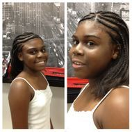 Corn rows with natural hair in front and flat iron hair in back for the teens.