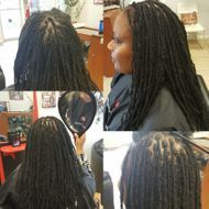 Small size micro size dreads done with extensions started by braidsbybee