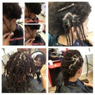 Instantloc Dread Extensions started on natural long hair to start dreadlock journey.