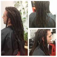 Natural Loc Journey started with our Instantlocs™ Dread Extension technique.  Wrapping his own hair with human hair to create instantlocs™