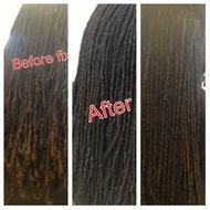 Natural BrotherLocs repaired with InstantLoc method reinforcing Roots with human hair