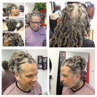 Instantloc Dread Extensions started his hair 6 years ago comes in once every 6 months for maint.