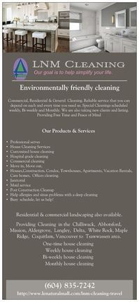 LNM CLEANING - Environmentally friendly cleaning, done right  for your peace of mind