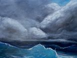 This ocean oil painting was inspired by the naval artist Aivazovsky, and drew from my experience of being on a ship tossed by hurricane driven, 40ft swells.  Beautiful, awe inspiring and yet incredibly frightening.