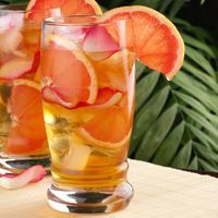 iced tea with orange peel
