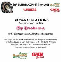 We are recognized for our great Breeding Success in being Top Breeder in 2013