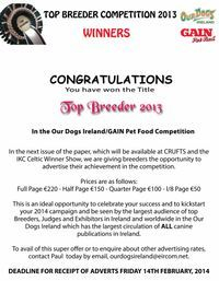 We Are also recognized as Top Breeder in Smooth Saint Bernards in 2013
