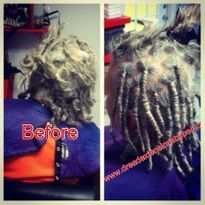 Braids by Bee repairs natural dreadlocks on Caucasian hair.