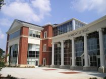 Multi-story curtain wall installation at Lynchburg College