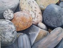 Beach Rocks Version III Original Watercolor by Tricia Granzier Maine Artist