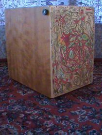 Cherry Snare Cajon with Art by Tufani Mayfield