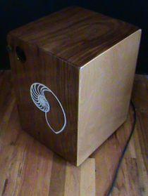 Indian Mahogany Snare Cajon with Pickups and Hand Painted Nautilus