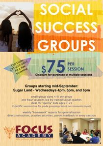 Spring 2019 Social Success groups now enrolling in Sugar Land.