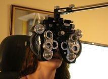 Eye exam in progress