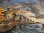 Hemmingway's fishing vessel, Pilar was the inspiration of this oil painting set in Cuba on the famed Malecon Avenue