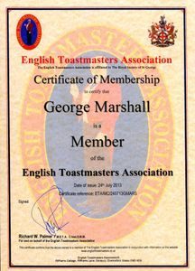 George Marshall Professional Wedding Toastmaster