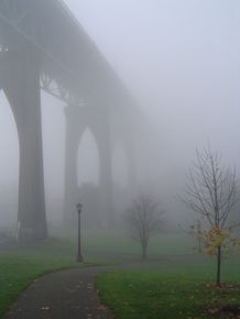 foggy outline of bridge--from the unconscious to the counscious mind