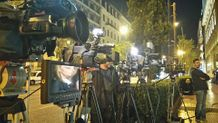 tv crews waiting the decision for their lucks, tv battle Greece