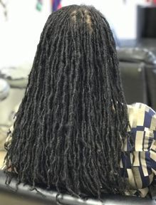 Sisterlocs size Instantloc Permanent Dreadlock Extensions started on thin hair this was installed 3 years ago.